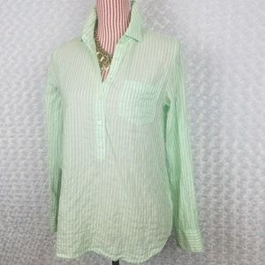 J. Crew 4 Womens Shirt Green Mint Stripe Popover